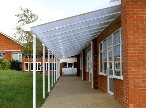 Two of the canopies that my team installed at this large primary school in Bracknell was required to fit around the buildings internal and external corners ... & My Favourite Berkshire Installation so Faru2026 | Able Canopies