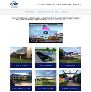 Above: The Specification Website Homepage
