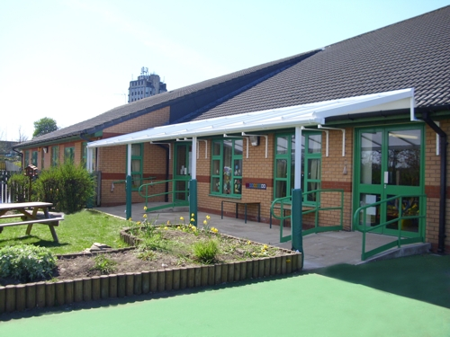 Disability Access Canopy Installed at Alexandra Community Primary School in Wrexham, Clwyd