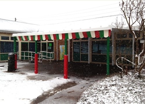 Thorpe Acre Infant School - Coniston Wall Mounted Canopy for Winter Outdoor PLay