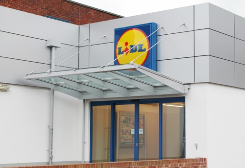 Lidl Supermarket - Entrance Canopy - Able Canopies Ltd