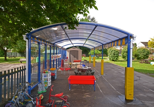 Free Standing Canopy - Play Canopy installed at How Wood Primary School in Hertfordshire