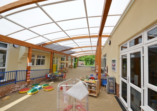 St Joseph's Catholic Primary School, West Sussex - Timber Canopy - Outside Calssroom