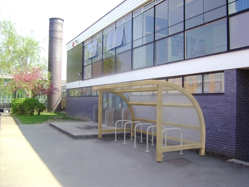 New curved timber cycle shelter - Able Canopies Ltd