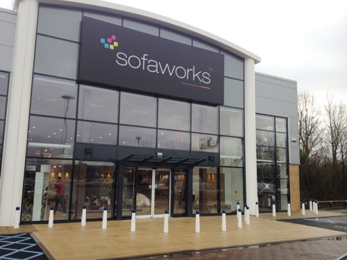 Shop Canopy installed at Sofaworks in Fosse Shopping Park in Leicestershire
