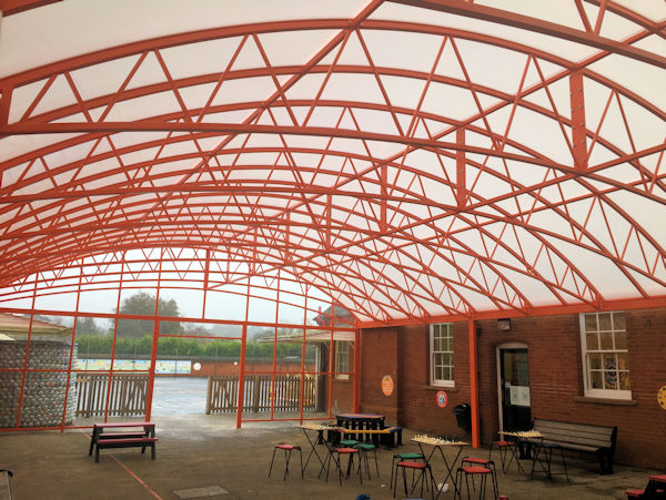 Hamilton Big Span Canopy installed at Springfield Junior School in Ipswich, Suffolk