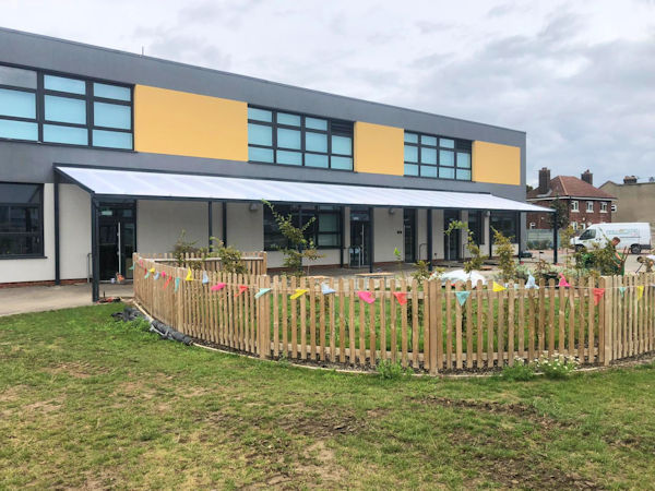 The Coniston Wall Mounted Canopy on Rear Posts - Eastbrook Primary School