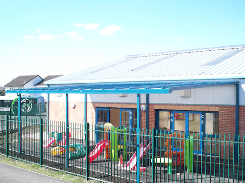 The Coniston Wall Mounted Canopy on Rear Posts - Moorland Park Community Centre