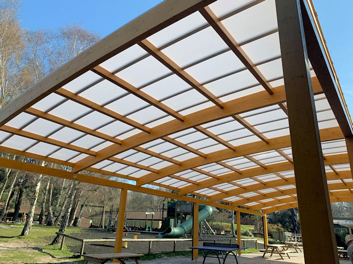 Timber Canopy installed at Warmwell Holiday Park, Dorset for Parkdean Resorts