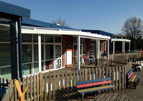 Wall Mounted Canopy installed at Birchwood Grove CP School in Berkshire