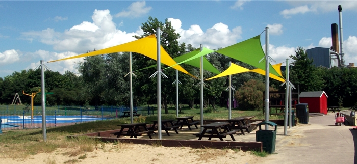 Shade Sails installed at Grays Beach Riverside Park in Thurrock, Essex
