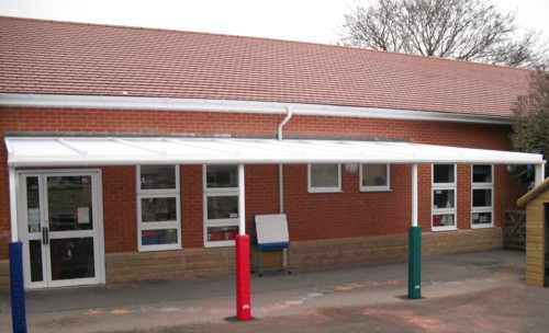 Gorse Hill Infant School had a Wall Mounted Canopy Installed