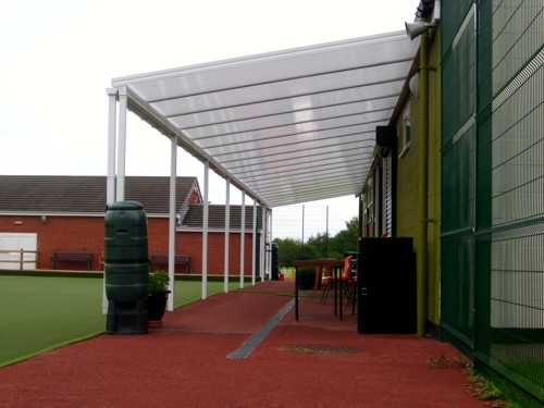 Wall Mounted Canopy - Bradley Bowling Club & Bradley Bowling Club Case Study | Wall Mounted Canopy | Canopies ...