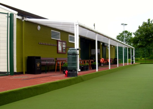 Wall Mounted Canopy installed at Bradley Bowling Club in Clwyd