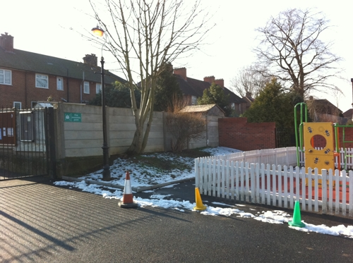 Brentside Primary School - Before Waiting Shelter Installation