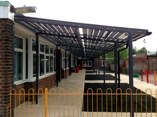 Solar Canopy installed at Capel Manor Primary School in Enfield, Middlesex - Able Canopies Ltd.