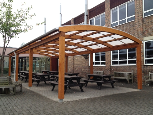 An Able Canopies Timber Shelter Installed at Carshalton High School for Girls
