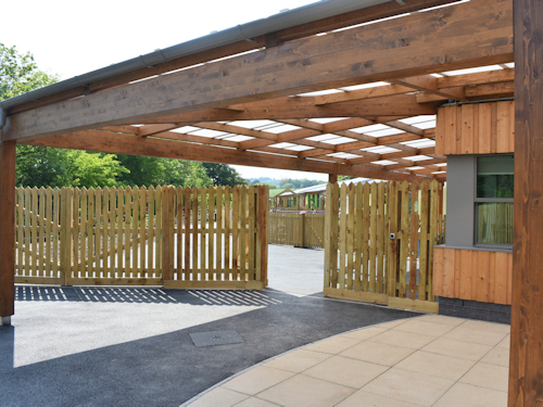 Timber Tarnhow Canopy Installed at Primary School in Devon