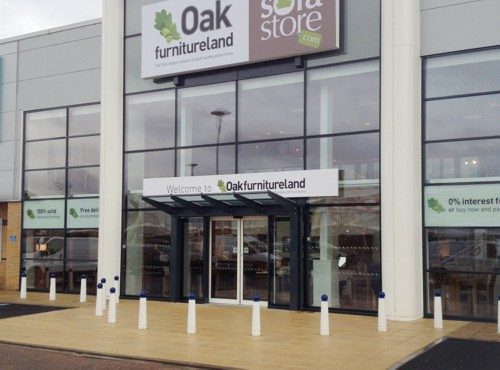 Kensington Mono-Pitch Free Standing Canopy installed at Oak Furniture Land in Leicester - Able Canopies Ltd.
