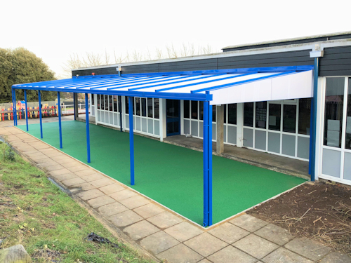 Coniston Wall Mounted Canopy installed at Halifax Primary School in Ipswich, Suffolk