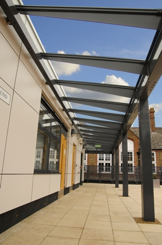 Bespoke Glass and Polycarbonate Wall Mounted Canopies at Oaklandu0027s Secondary School & Oaklandu0027s Secondary School Case Study | Wall Mounted Canopy ...