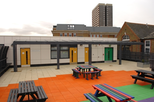 Oakland's Secondary School, London - Glass Wall Mounted Canopy