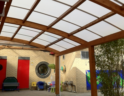Redriff Primary School - Timber Canopy Installation - Able Canopies Ltd.
