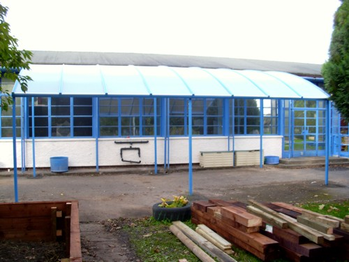 St Peter's Church in Wales Primary School - Free Standing Canopy - Able Canopies Ltd.