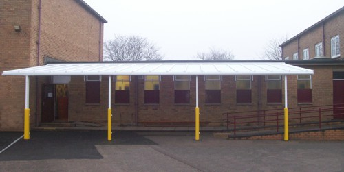 Wall Mounted Canopy Installed at Stafford Sports College
