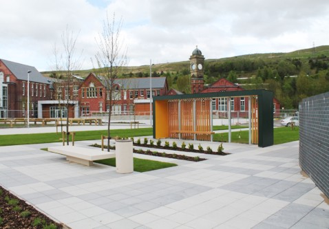 After Waiting Shelter Installation at Station Square, The Works - Ebbw Vale, South Wales