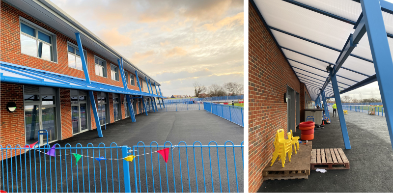 Wall Mounted Canopies Installed at Hailsham Community College Primary Academy in East Sussex