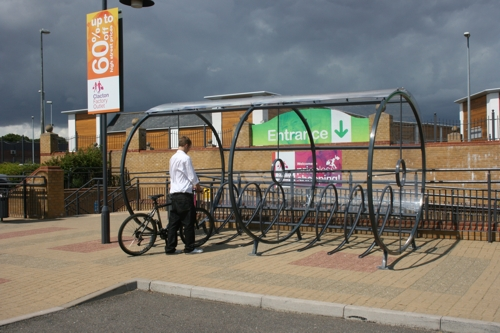Retail Cycle Shelter installed at Clacton Factory Shopping Village in Essex
