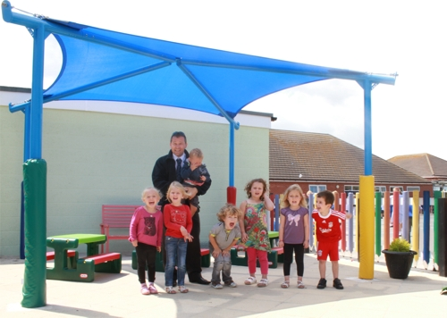 Shade Sail installed at Little Clacton Pre-School