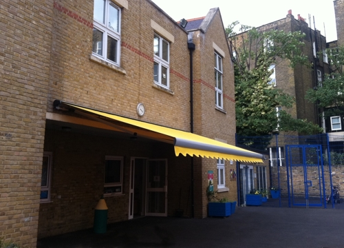 Commerical Awning installed at St Cuthbert with St Matthias CE Primary School