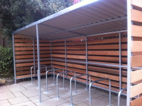 The Grasmere Timber Clad Cycle Shelter installed at Tune Hotel Group in Westminster, London