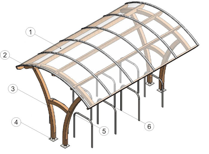 Timber Cycle Shelters in Detail from Able Canopies Ltd.