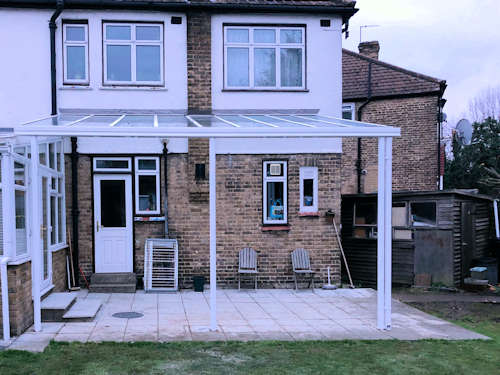 Glass Wall Mounted Veranda installed in Enfield, London - Domestic Verandas and Carports