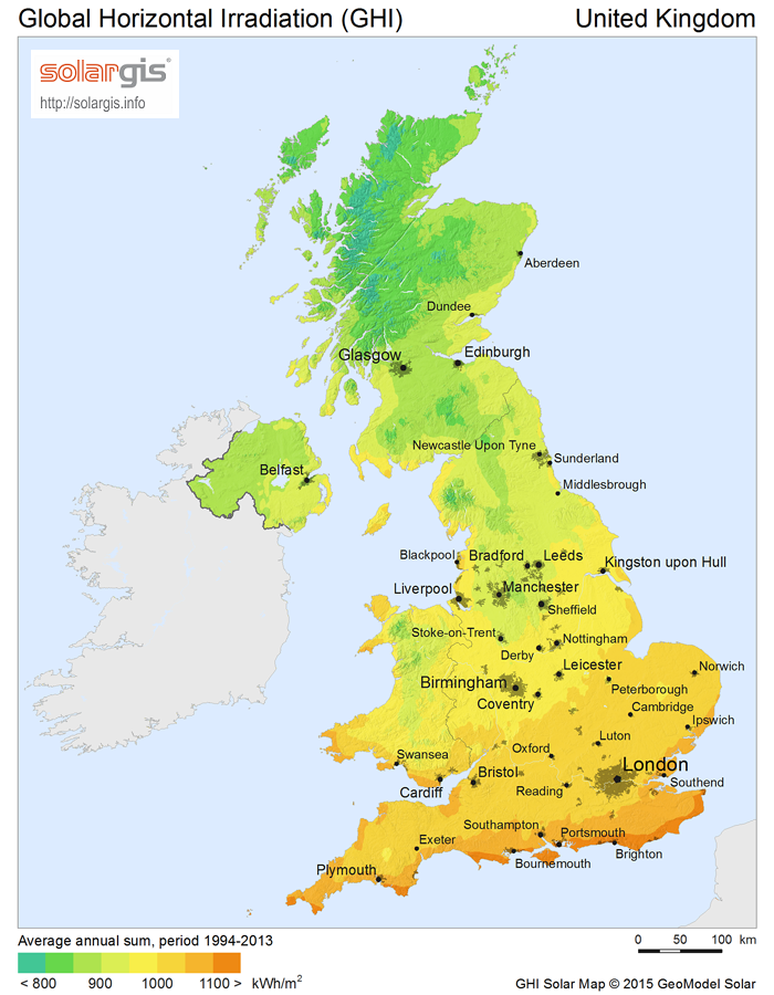 Solar Irradiation Levels in the UK - GHI Solar Map © 2017 Solargis