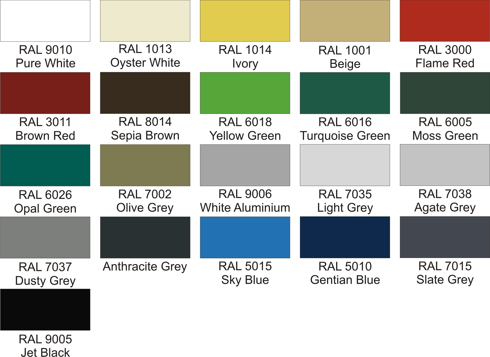 Codale Conic, Codale Junior and Windsor Free Standing Canopy Fabric Colours