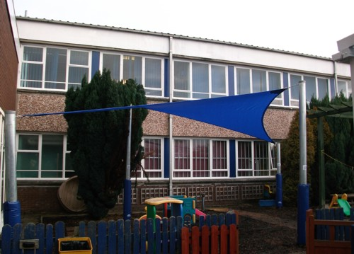 Able Shade Sail installled at Wordsley Pre-School & Playgroup, Stourbridge, West Midlands.