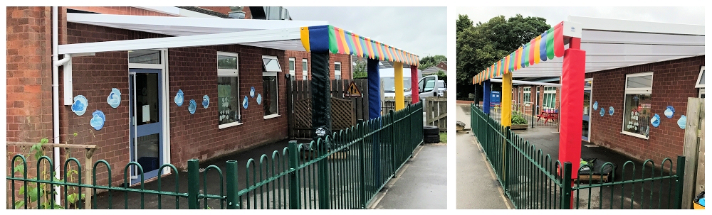 The Coniston Wall Mounted Canopy installed at Elloughton Primary School, East Yorkshire