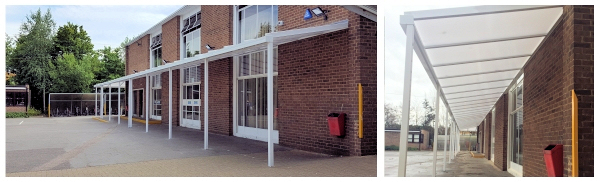 The Coniston Wall Mounted Canopy Installed at Alexandra Park School, London
