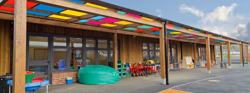 Tarnhow Mono-Pitch Free Standing Timber Canopy - Coloured Polycarbonate
