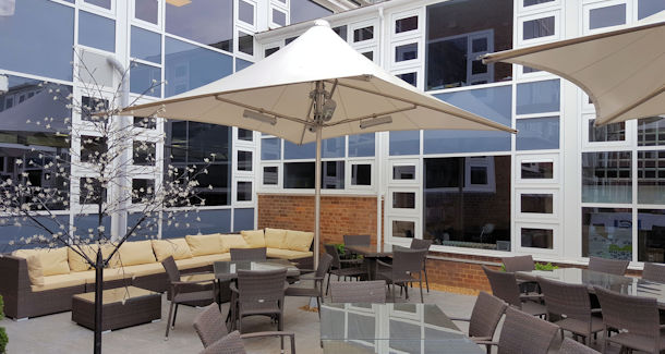 Outside Dining and Seating for Restaurants - Waterproof Umbrella