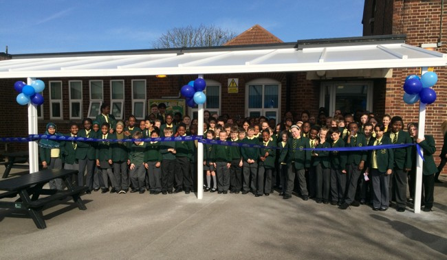 The James Cambell Primary School Canopy, Dagenham - Able Canopies Ltd.