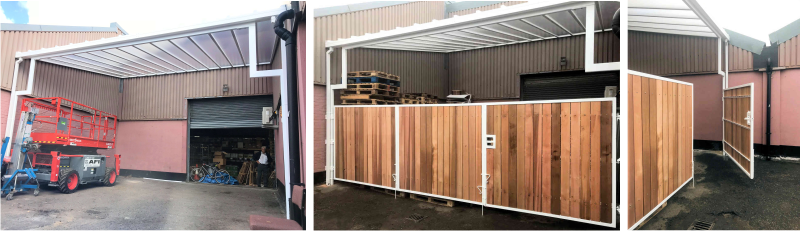 Wall Mounted Canopy with Timber Gates | County Construction Chemicals | Able Canopies & Projects