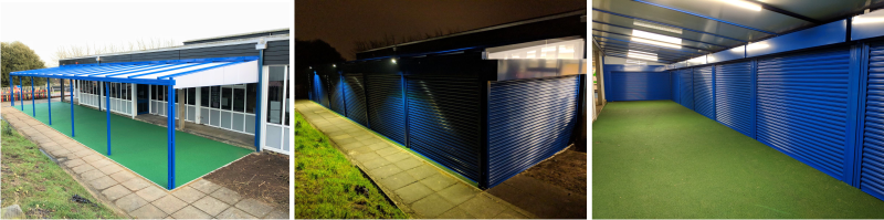 Wall Mounted Canopy with Secure Roller Shutters