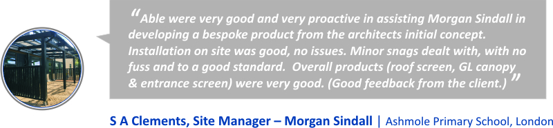 Morgan Sindall Canopy Testimonial - Able Canopies Ltd.