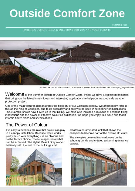 Outside Comfort Zone - Architect Canopy Newsletter - Able Canopies Ltd.