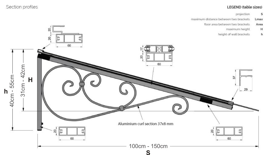 The Balmoral Entrance Canopy Technical Drawing